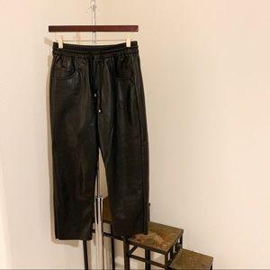 Zara Faux Leather Crop Joggers.